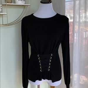 Inc corset waist sweater